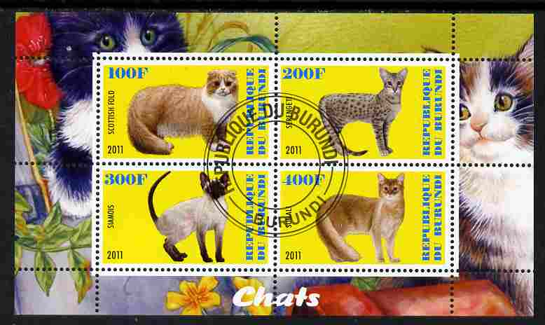 Burundi 2011 Domestic Cats #2 - yellow background perf sheetlet containing 4 values fine cto used