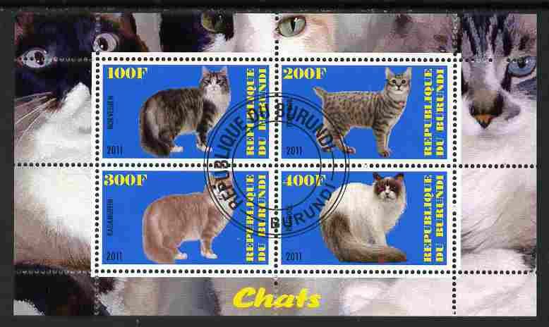 Burundi 2011 Domestic Cats #3 - blue background perf sheetlet containing 4 values fine cto used