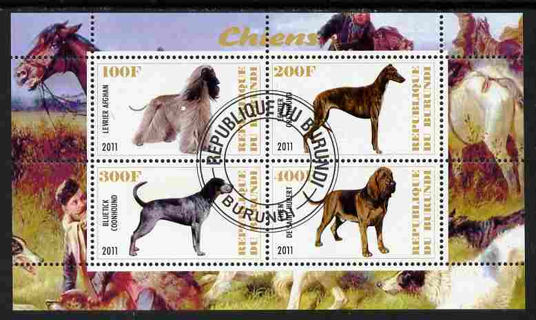 Burundi 2011 Dogs #5 perf sheetlet containing 4 values fine cto used