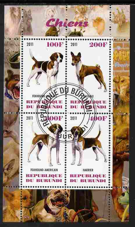 Burundi 2011 Dogs #7 perf sheetlet containing 4 values fine cto used