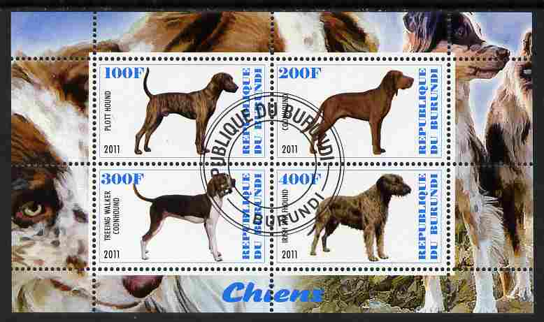 Burundi 2011 Dogs #8 perf sheetlet containing 4 values fine cto used
