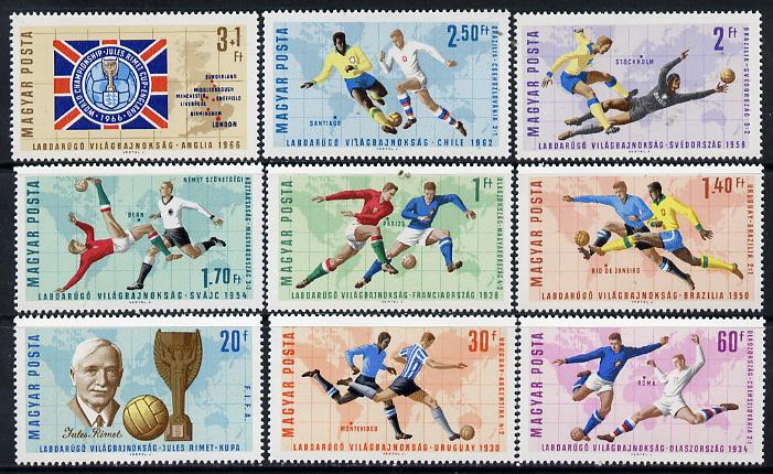 Hungary 1966 Football World Cup perf set of 9 unmounted mint, Mi 2242-50