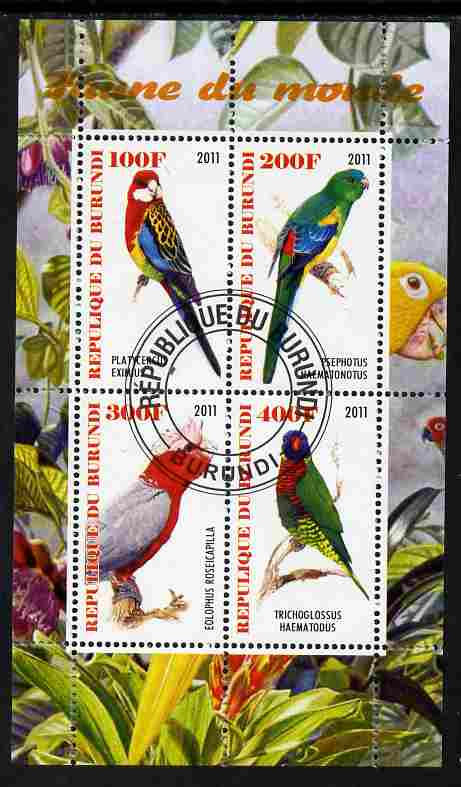 Burundi 2011 Fauna of the World - Parrots #3 perf sheetlet containing 4 values fine cto used