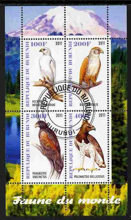 Burundi 2011 Fauna of the World - Birds of Prey perf sheetlet containing 4 values fine cto used