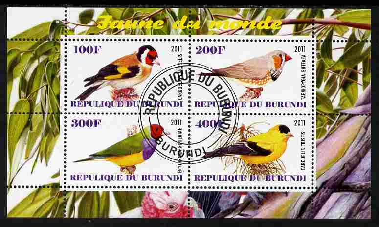 Burundi 2011 Fauna of the World - Birds - Finches perf sheetlet containing 4 values fine cto used