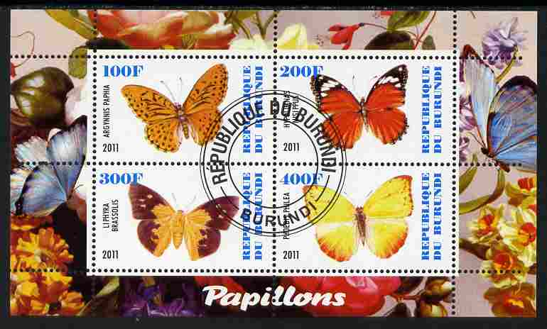 Burundi 2011 Fauna of the World - Butterflies #3 perf sheetlet containing 4 values fine cto used