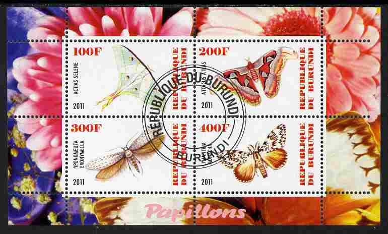 Burundi 2011 Fauna of the World - Butterflies #4 perf sheetlet containing 4 values fine cto used