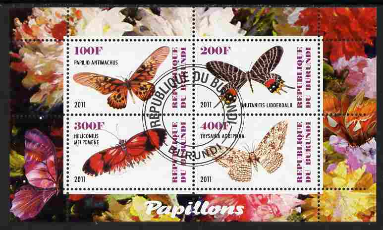 Burundi 2011 Fauna of the World - Butterflies #5 perf sheetlet containing 4 values fine cto used