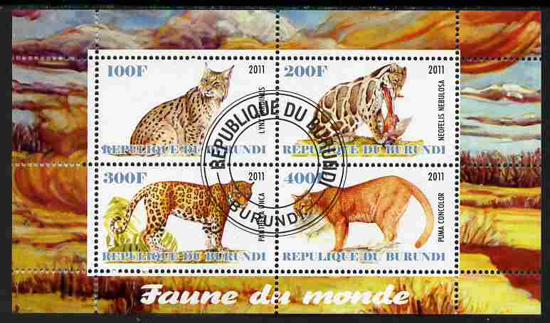Burundi 2011 Fauna of the World - Wild Cats #3 perf sheetlet containing 4 values fine cto used