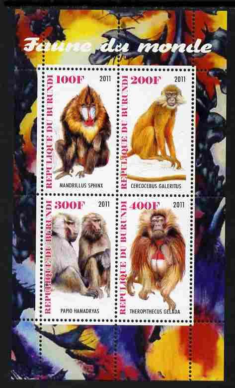 Burundi 2011 Fauna of the World - Monkeys perf sheetlet containing 4 values unmounted mint