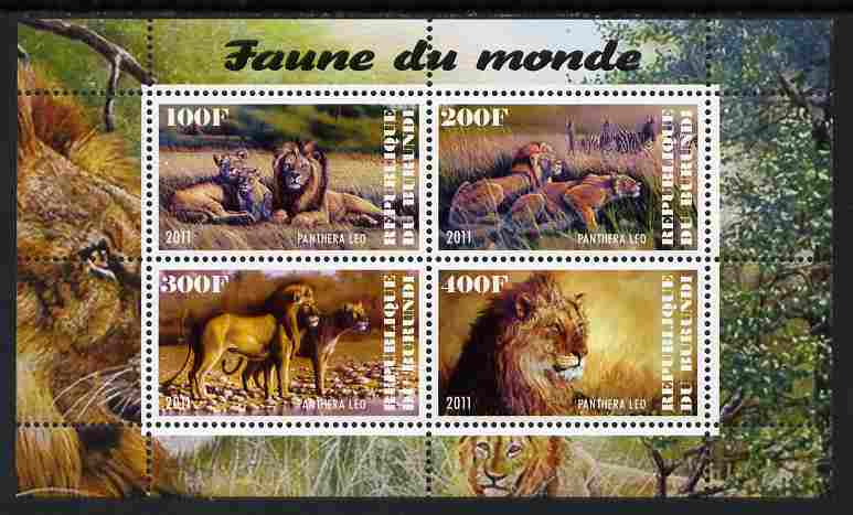 Burundi 2011 Fauna of the World - Lions perf sheetlet containing 4 values unmounted mint