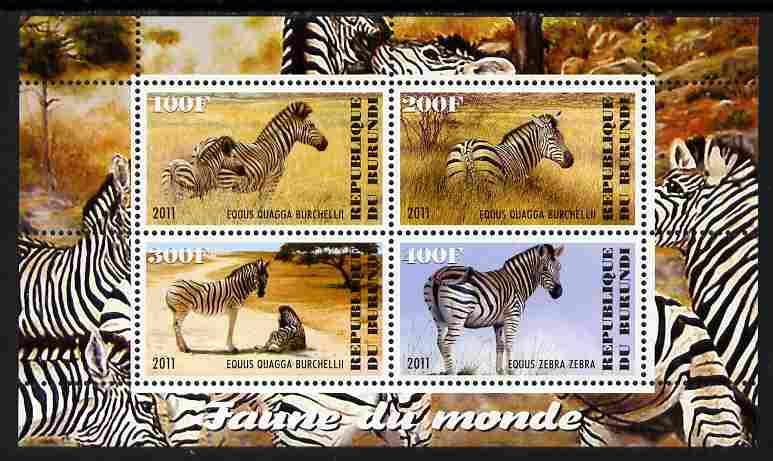 Burundi 2011 Fauna of the World - Zebra perf sheetlet containing 4 values unmounted mint