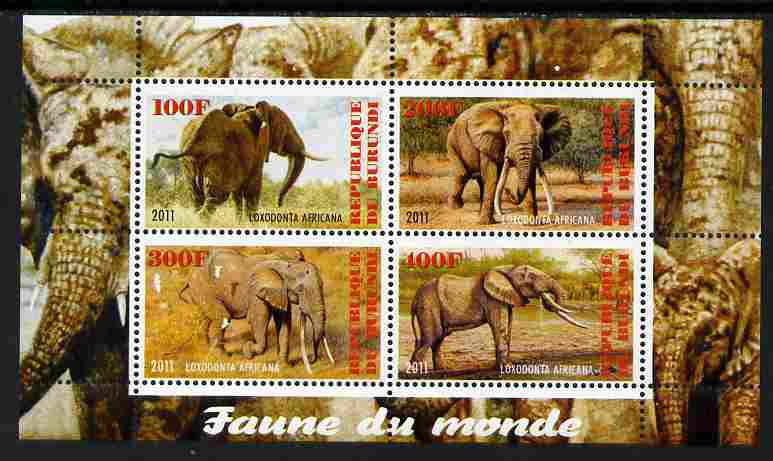 Burundi 2011 Fauna of the World - Elephants perf sheetlet containing 4 values unmounted mint