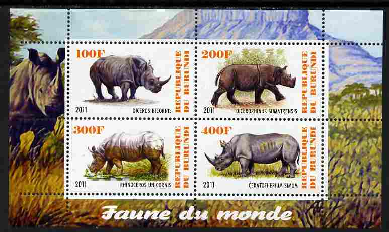 Burundi 2011 Fauna of the World - Rhinoceros perf sheetlet containing 4 values unmounted mint