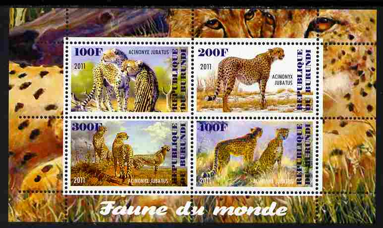 Burundi 2011 Fauna of the World - Cheetahs perf sheetlet containing 4 values unmounted mint