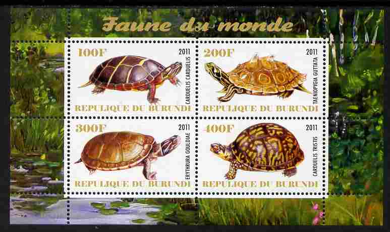 Burundi 2011 Fauna of the World - Turtles perf sheetlet containing 4 values unmounted mint