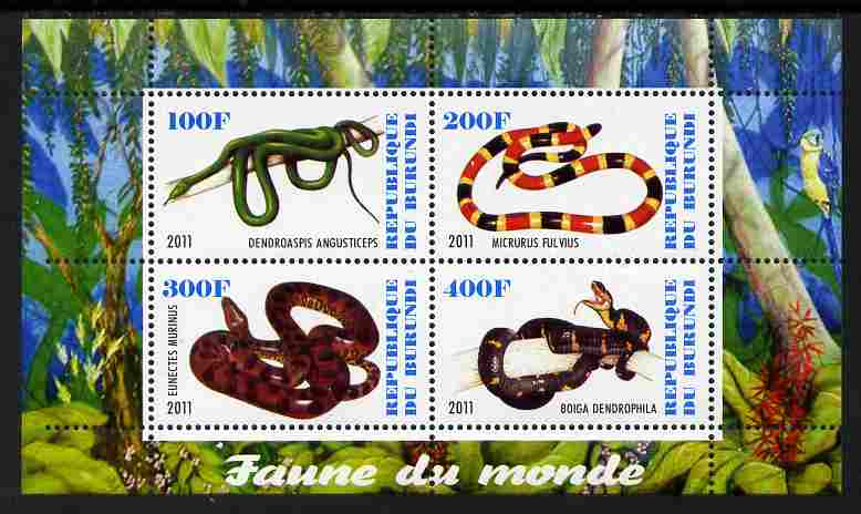 Burundi 2011 Fauna of the World - Reptiles - Snakes #3 perf sheetlet containing 4 values unmounted mint