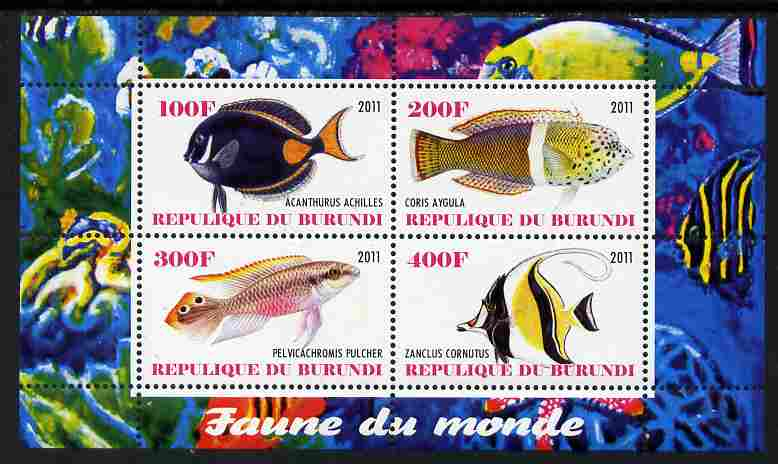 Burundi 2011 Fauna of the World - Fish #3 perf sheetlet containing 4 values unmounted mint