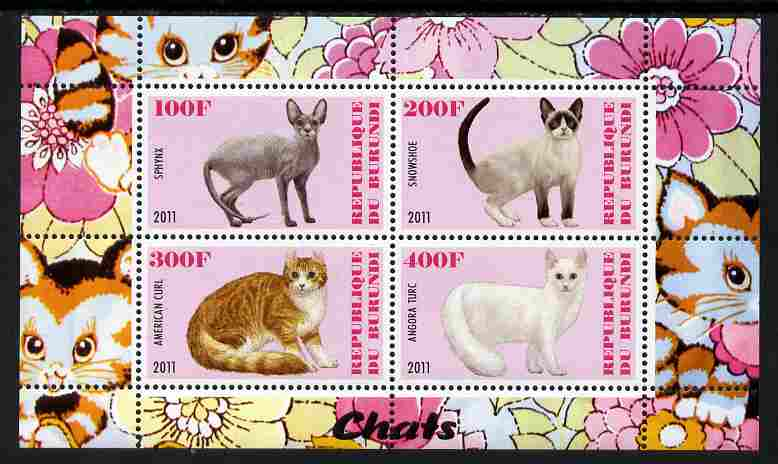 Burundi 2011 Domestic Cats #1 - pink background perf sheetlet containing 4 values unmounted mint