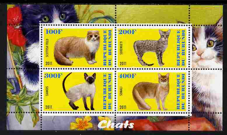 Burundi 2011 Domestic Cats #2 - yellow background perf sheetlet containing 4 values unmounted mint