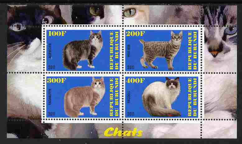 Burundi 2011 Domestic Cats #3 - blue background perf sheetlet containing 4 values unmounted mint