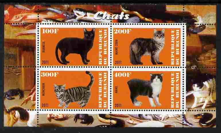 Burundi 2011 Domestic Cats #4 - orange background perf sheetlet containing 4 values unmounted mint