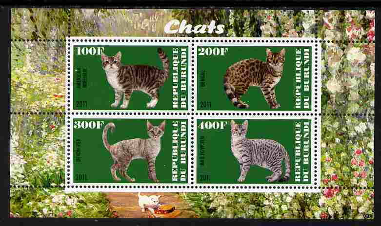 Burundi 2011 Domestic Cats #5 - green background perf sheetlet containing 4 values unmounted mint