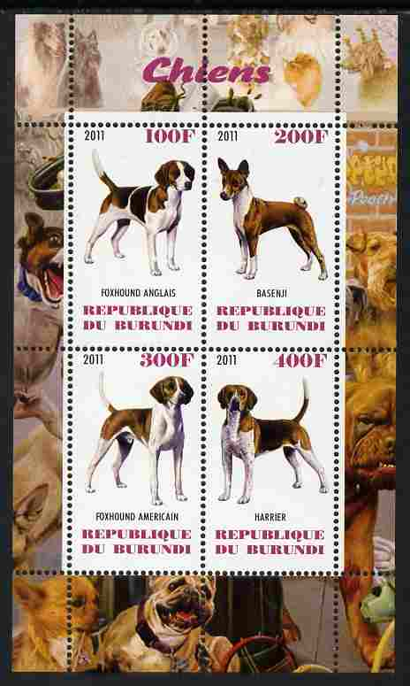 Burundi 2011 Dogs #7 perf sheetlet containing 4 values unmounted mint