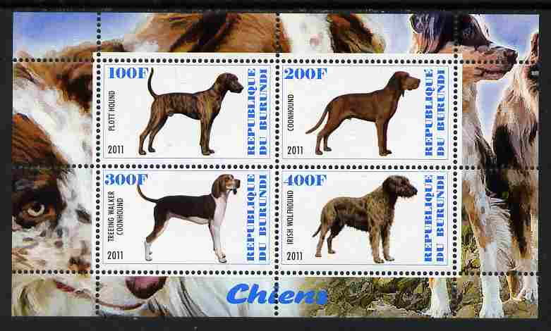 Burundi 2011 Dogs #8 perf sheetlet containing 4 values unmounted mint
