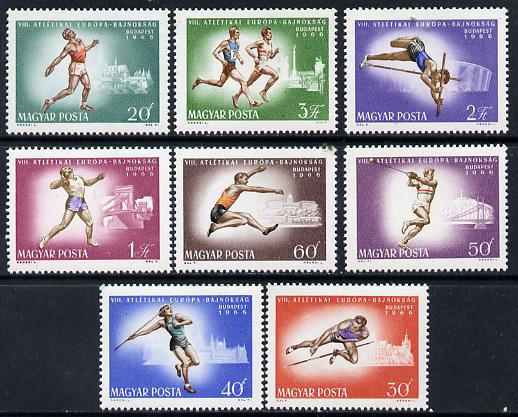 Hungary 1966 European Athletics perf set of 8 unmounted mint SG 2212-19