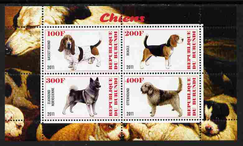Burundi 2011 Dogs #9 perf sheetlet containing 4 values unmounted mint