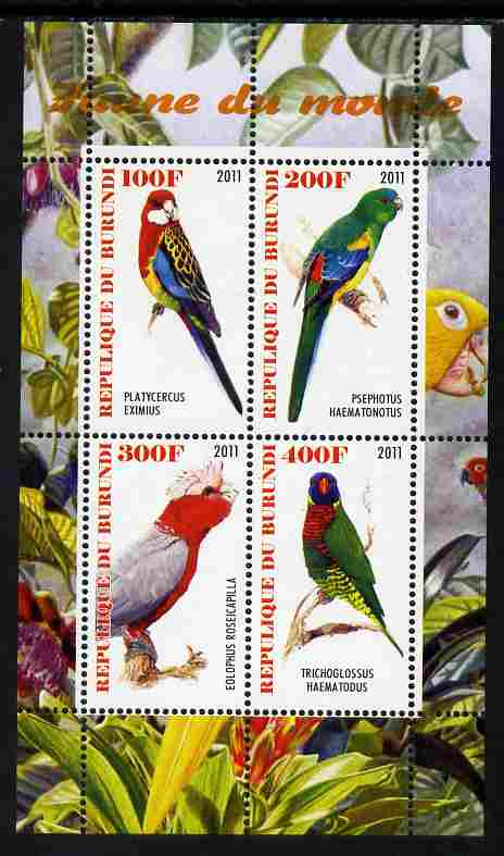 Burundi 2011 Fauna of the World - Parrots #3 perf sheetlet containing 4 values unmounted mint