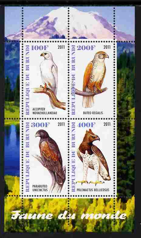 Burundi 2011 Fauna of the World - Birds of Prey perf sheetlet containing 4 values unmounted mint