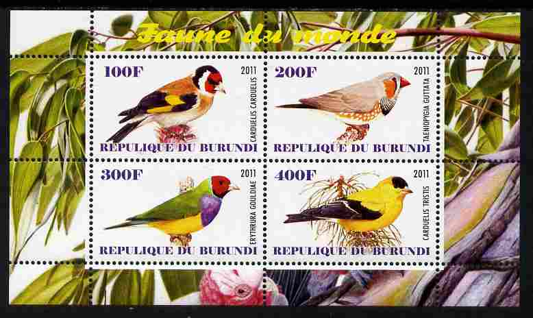 Burundi 2011 Fauna of the World - Birds - Finches perf sheetlet containing 4 values unmounted mint