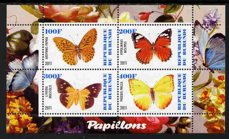 Burundi 2011 Fauna of the World - Butterflies #3 perf sheetlet containing 4 values unmounted mint