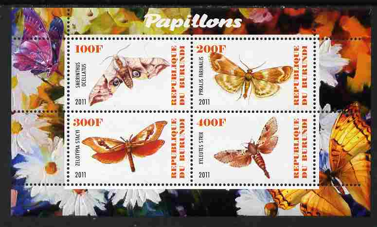 Burundi 2011 Fauna of the World - Butterflies #6 perf sheetlet containing 4 values unmounted mint