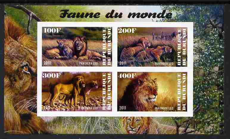 Burundi 2011 Fauna of the World - Lions imperf sheetlet containing 4 values unmounted mint