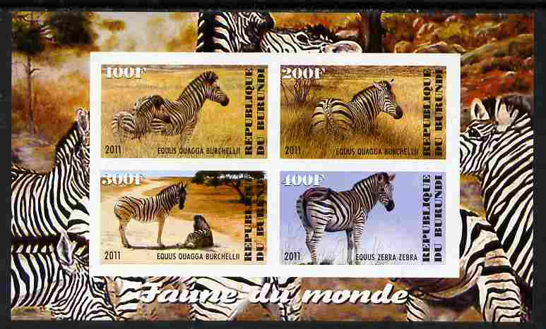 Burundi 2011 Fauna of the World - Zebra imperf sheetlet containing 4 values unmounted mint