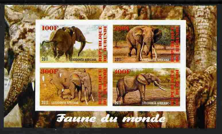 Burundi 2011 Fauna of the World - Elephants imperf sheetlet containing 4 values unmounted mint
