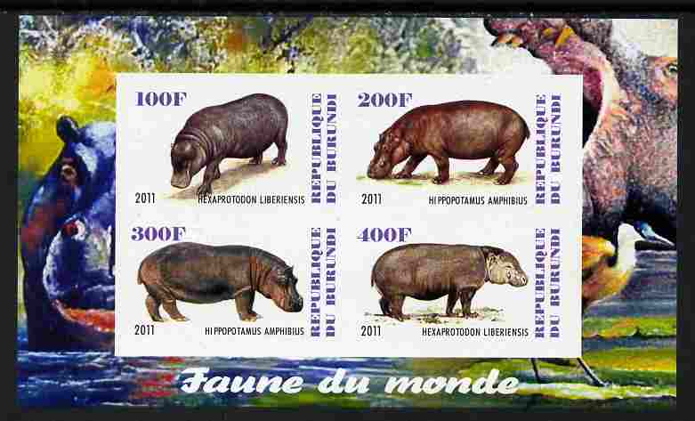 Burundi 2011 Fauna of the World - Hippos imperf sheetlet containing 4 values unmounted mint