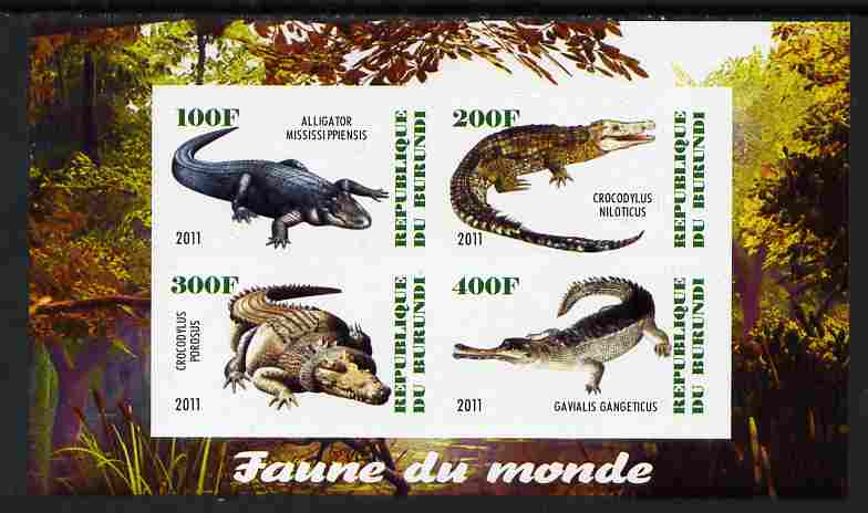 Burundi 2011 Fauna of the World - Crocodles imperf sheetlet containing 4 values unmounted mint