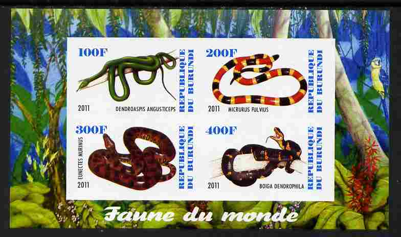 Burundi 2011 Fauna of the World - Reptiles - Snakes #3 imperf sheetlet containing 4 values unmounted mint
