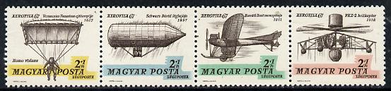Hungary 1967 'Aerofila '67' Airmail Stamp Exhibition #1 se-tenant perf strip of 4 (Parachute, Airship, Helicopter) unmounted mint Mi 2317-20
