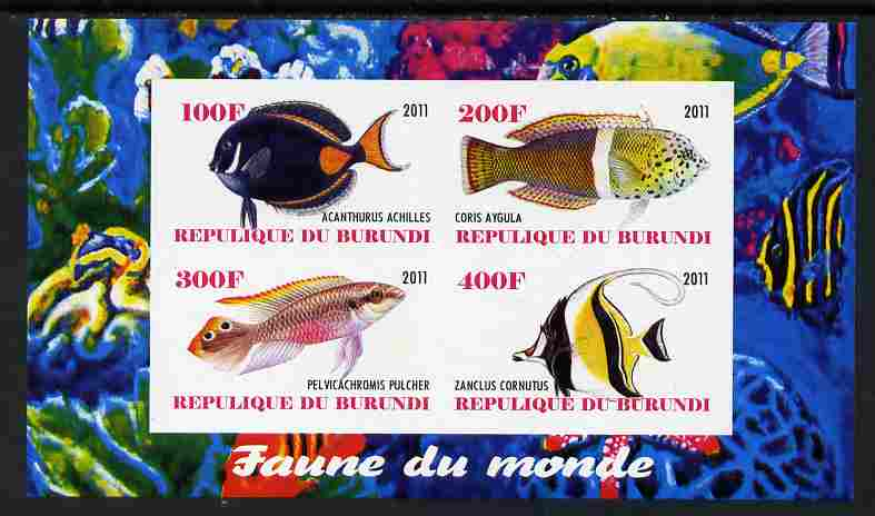 Burundi 2011 Fauna of the World - Fish #3 imperf sheetlet containing 4 values unmounted mint