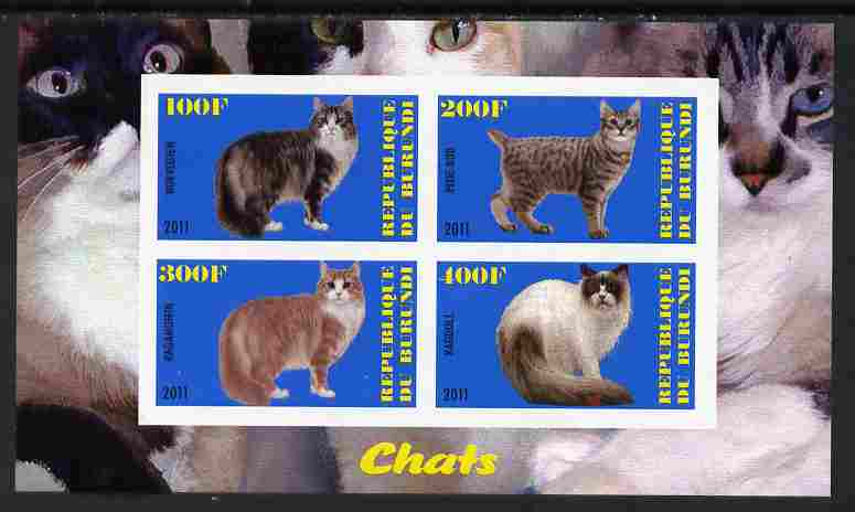 Burundi 2011 Domestic Cats #3 - blue background imperf sheetlet containing 4 values unmounted mint