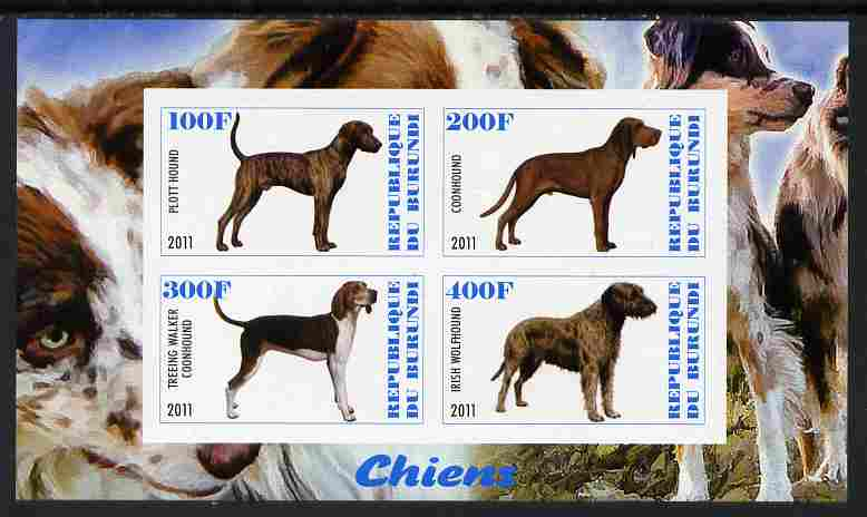 Burundi 2011 Dogs #8 imperf sheetlet containing 4 values unmounted mint