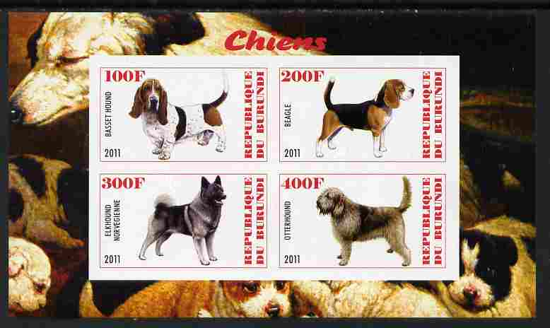 Burundi 2011 Dogs #9 imperf sheetlet containing 4 values unmounted mint