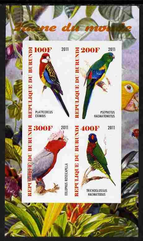 Burundi 2011 Fauna of the World - Parrots #3 imperf sheetlet containing 4 values unmounted mint