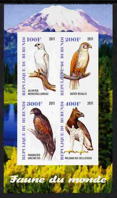 Burundi 2011 Fauna of the World - Birds of Prey imperf sheetlet containing 4 values unmounted mint