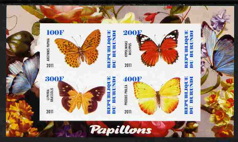 Burundi 2011 Fauna of the World - Butterflies #3 imperf sheetlet containing 4 values unmounted mint
